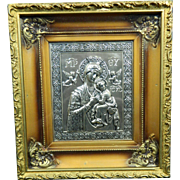 Vintage Silver Plated Framed Plaque of The Virgin Mary and Baby Jesus – Mexico 20th ...