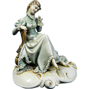 Vintage Hand Painted Borsato Porcelain Figurine of a Seated Lady – Reverie – Italy 20th ..