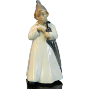 Vintage Hand Painted Royal Copenhagen Porcelain Figurine – Boy with Umbrella – Denmark 20t