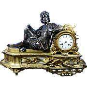 Antique Japy Freres Empire Style Mantle Clock Made of Bronze, Ormolu and Alabaster – France