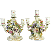 Antique Pair of Hand Painted Meissen Porcelain Candelabra with Cherubs & Encrusted Flowers –