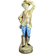 Antique Large Hand Painted Meissen Style / Limbach Porcelain of a Peasant – Germany 19th ...