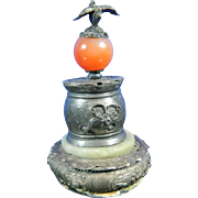 Old Chinese Filigree Nickel Silver Charm with Jade and Amber – China 20th Century