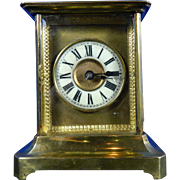 Old German Alarm Brass Carriage Clock – Germany 20th Century