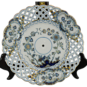 Vintage Hand Painted Meissen Porcelain Reticulated Charger – Blue Onion Pattern – Germany
