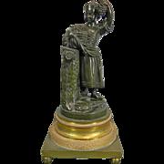 Antique Empire Style Bronze Empire Style Figurine – Peasant Girl – France 19th Century