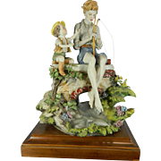 Vintage Hand Painted Capodimonte Style Porcelain Figurine Set – The Fisher Boys – Italy ..