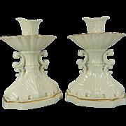 Vintage Pair of White Lenox Porcelain Candleholders – USA 20th Century