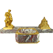 Antique Gold Gilded Bronze Desk Inkwell Set by Paul Louchet – France 19th Century