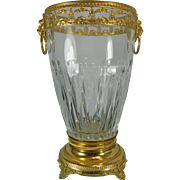 Vintage Cut Glass Flower Vase with Gold Gilded Ormolu Appliques and Metal Stand – France ...