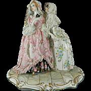 Vintage Hand Painted Muller Volkstedt Porcelain Figurine Set – A Masked Ball – Germany 20t