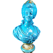 Antique Turquoise and Gold Gilded Sevres Porcelain Bust of Marie Antoinette – France 19th ..