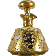 Vintage Gold Gilded Red Bohemia Glass with Encrusted Flowers Perfume Bottle – Czech Republic