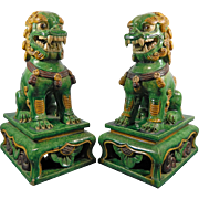 Antique Pair of Chinese Hand Painted Terracotta Foo Dogs – China 19th Century