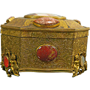 Antique Gold Gilded Metal Jewel or Trinket Box with Semi-Precious Stones – France 19th ...