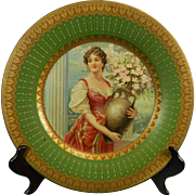 Vintage Metal Decoration Royal Vienna Style Plate with High Quality Lithography – USA 20th .