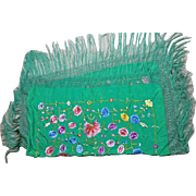 Vintage Chinese Shawl or Manton in Green Silk with Multi-color Embroidery Flower Motifs †...