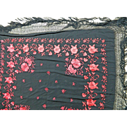 Vintage Chinese Shawl or Manton in Black Silk with Red Embroidery Flower Motifs – China ...