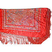 Vintage Chinese Shawl or Manton in Red Silk with Multi-color Embroidery Flower Motifs †...