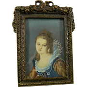 Antique Framed Miniature Painting – Portrait of a Girl – France 19th Century