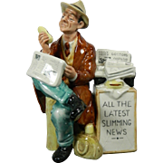 Vintage Hand Painted Royal Doulton Porcelain Figurine – Stop Press – Great Britain 20th ..