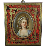 Antique Hand Painted Porcelain Plaque Portrait of a Girl – Boulle Frame – France 19th ...