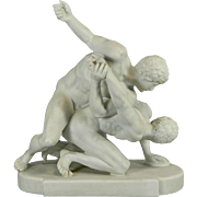 Antique White Parian or Biscuit Meissen Style Porcelain Figurine Set – The Wrestlers – ...