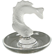 Vintage Frosted Fish Lalique Glass Small Tray France 20th Century