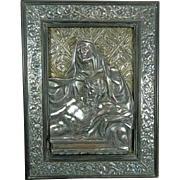 Antique Chiselled Sterling Silver Frame Stand with a Plaque of the Virgin Mary and the ...