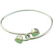 Authentic TIFFANY & CO Sterling Silver 18K Gold Double Heart Bangle Bracelet