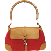 Authentic GUCCI Suede Leather Bamboo Handle Red Brown Shoulder Bag Handbag Purse