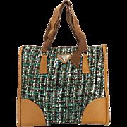 Authentic PRADA Brown Blue Fabric Leather Small Handbag Purse