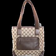 Authentic GUCCI Brown Original GG Canvas Leather Shoulder Bag Purse