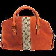 Authentic GUCCI Brown Leather Original GG Canvas Handbag Bag Purse