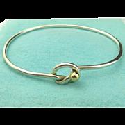 Authentic TIFFANY & CO Sterling Silver 18K Gold Love Knot Bangle Bracelet