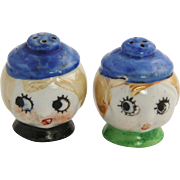 Art Deco Era Japan Lusterware Googly Eye Flapper Girl Salt & Pepper Shakers