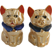 Art Deco Era Japan Lusterware Geometric Block Dog Salt & Pepper Shakers