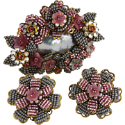 STANLEY HAGLER St Gielar Pink & Grey Floral Set Brooch & Earrings