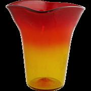 Mid Century Modern BLENKO Amberina Glass Vase Hand Blown