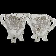 Viking Glass Springtime Silver Overlay Footed Cream & Sugar