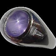 11.25 Carat Star Sapphire & Diamonds In Platinum Ring, Gemologist Appraisal $15K