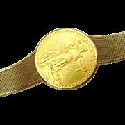 RARE Gubelin $20 U.S. St. Gaudens Coin Gents Watch, 18K Tri-Color Gold Bracelet