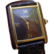 Vintage Cartier Tank with Exotic Wood Dial and Case Sides.