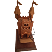 Handcrafted by Chinese Craftsmen wood castle music box - plays Camelot / drawbridge moves