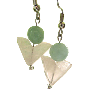 Handmade triangular rose quartz and light turquoise colored glass dangle earrings