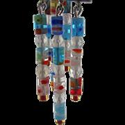 SALE Dancing with light - Round tubular Millefiori glass long dangle earrings - Handmade
