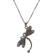 SALE Diamond DragonFly .65 CTW + Diamond and Tanzanite Pendant 14 KT White Gold