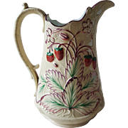 19th C. Pink Luster Strawberry Pitcher