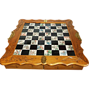 Vintage Asian Chinese Wood Hand Carved Chess Board With Jade Colored Chess Pieces