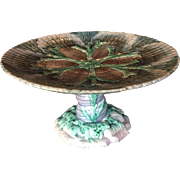 Antique Etruscan Majolica shell & seaweed cake stand